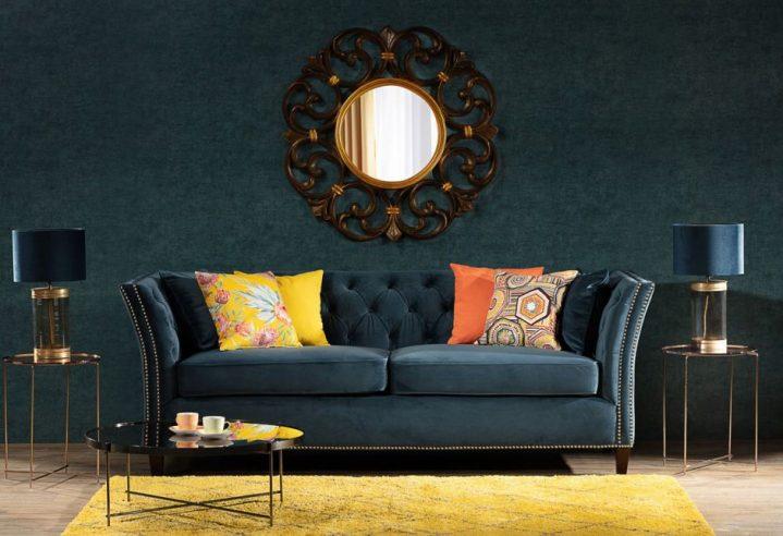 Dekoria.pl, poszewki Kinga na poduszkę, sofa Chesterfield Modern Velvet Midnight