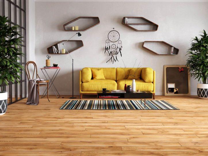 Neutralny-kolor-podłogi-jest-idealny-dla-wyrazistych-aranżacji.-Na-zdjęciu-panele-laminowane-Legend-4V-Dąb-Glasgow-od-RuckZuck